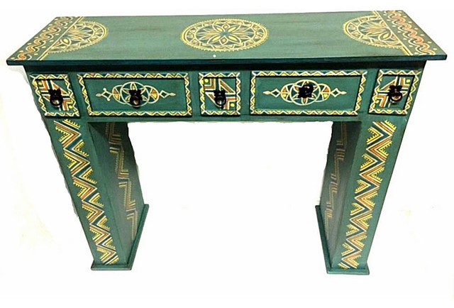 Moroccan Handpainted Wood Console Hall Table Arabesque Furniture Drawer Green Mediterranean Tables By Bazaar Llc