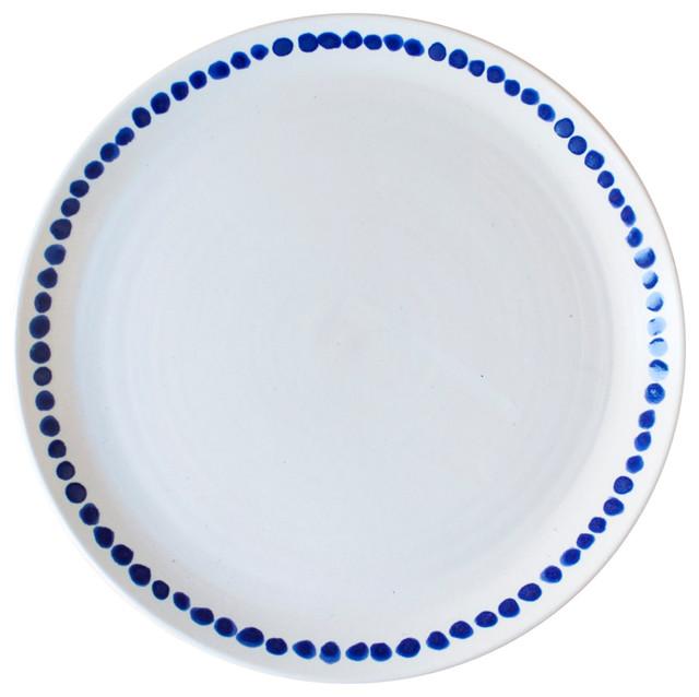 White and Indigo Dot Ceramic Dinner Plate contemporary-dinner-plates  sc 1 st  Houzz & White and Indigo Dot Ceramic Dinner Plate - Contemporary - Dinner ...