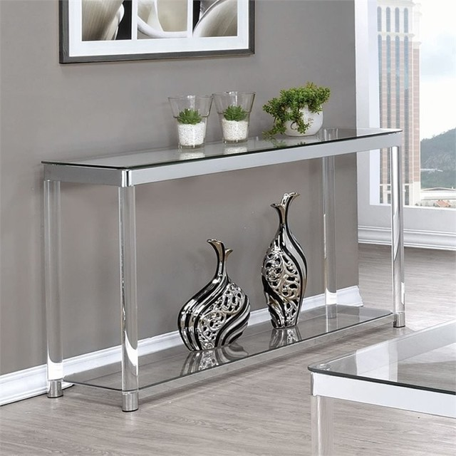 Coaster 1 Shelf Glass Top Console Table, Chrome And Clear Acrylic