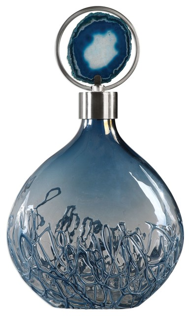 Blue Agate Art Glass Bottle, Elegant Vase Silver Lid Stone