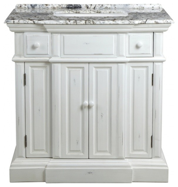 36 Inch Distressed White Bathroom Vanity With Sink Granite Top Traditional