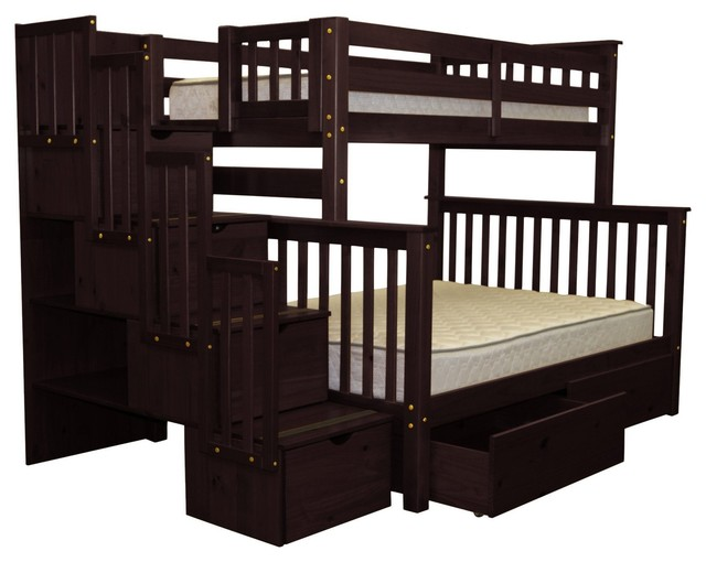 Bedz King Bunk Beds Twin Over Full Stairway, 4 Step, 2 Bed Drawers, Cappuccino.