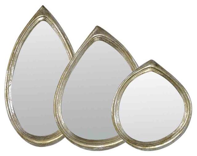 emde silver teardrop mirror set of 3
