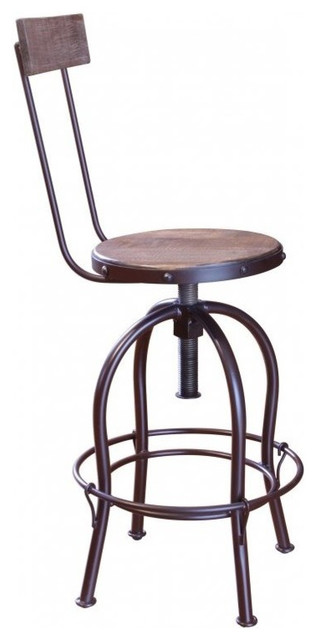 Adjustable Urban Rustic Antique-Style Multicolor Bar Stool With Back