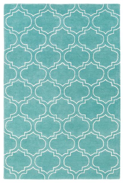 Contemporary Light Blue Ivory Geometric Rings Print Modern