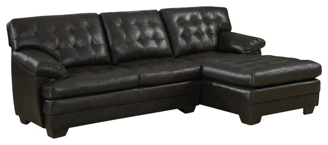 Homelegance Brooks 2-Piece Sectional Sofa, Rich Dark Brown Leather