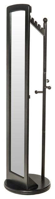 Standing Mirror With Coat Rack, Black.