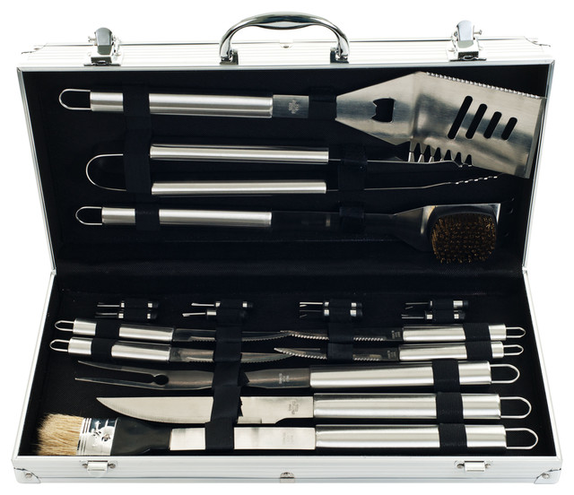 19 Piece Heavy Duty Bbq Set With Case By Chef Buddy.