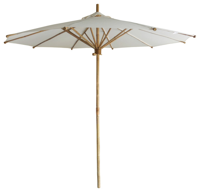 Bamboo Umbrella, White Canvas Traditional Outdoor Umbrellas