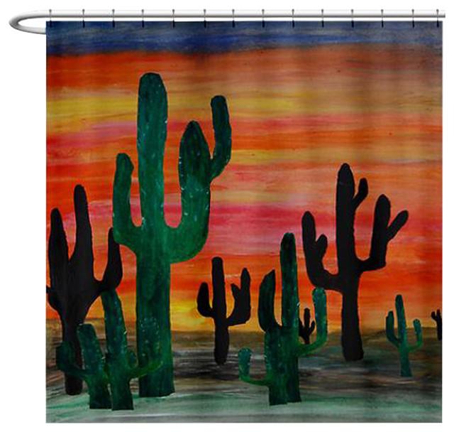 Charmant Desert Sunset Cactus Shower Curtain