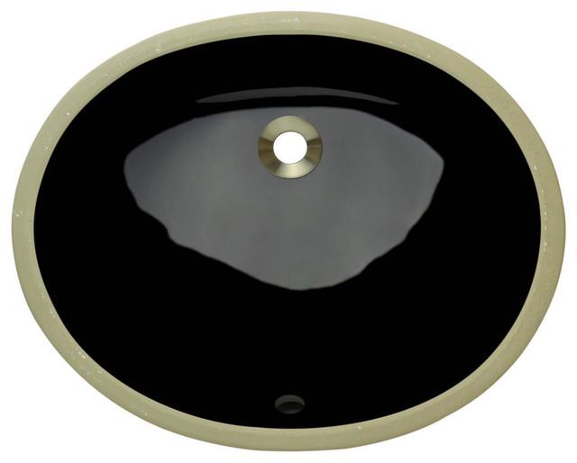 Polaris Pupsbl Black Undermount Porcelain Bathroom Sink.