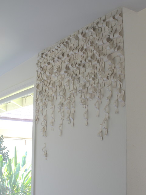 Charmant Waves, Ceramic Wall Installation Contemporary