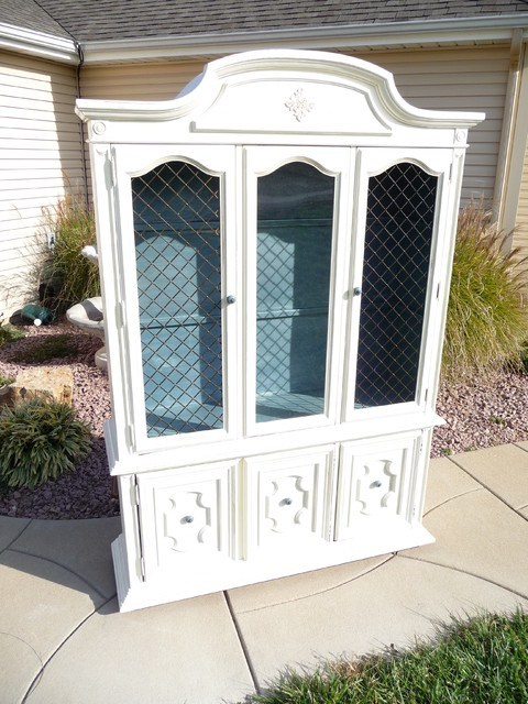 French Country Breakfront China Cabinet Traditional