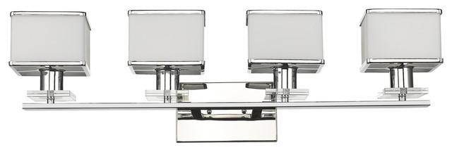 "Trilluminate 4-Light Chrome Finish White Opal Glass Bath Vanity Wall Fixture 32"""