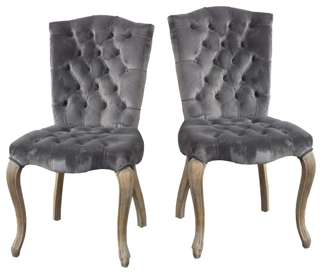 GDF Studio Martino Velvet Charcoal Dining Chairs, Set of 2