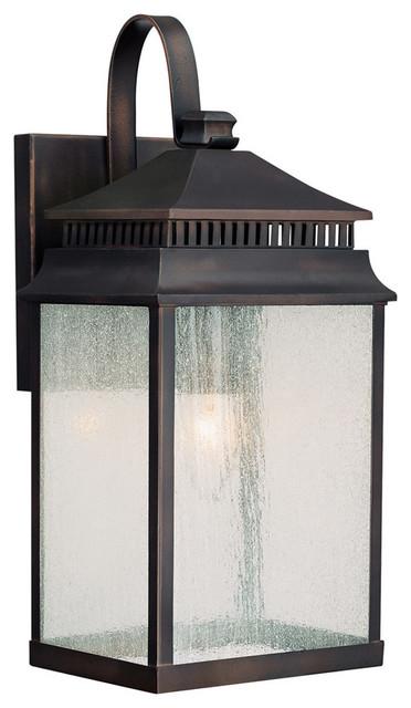 Capital Lighting Sutter Creek Old Bronze Outdoor Wall Lantern W/ 1 Light 100w.