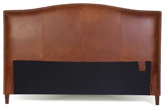 King Size Leather Headboard With Brass Nail Head, Tobacco, Queen.