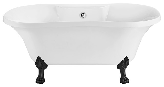 "60"" Streamline Soaking Clawfoot Tub With External Drain, Black Legs."