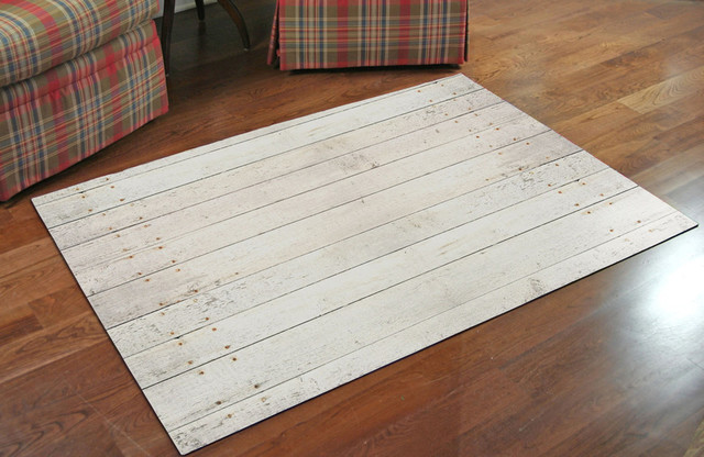 """Patterned Rug, White Washed, Mat, 36""""x23""""."""