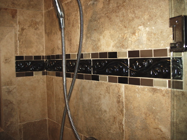 borders for bathroom tiles shower tile border mediterranean bathroom cleveland 17489