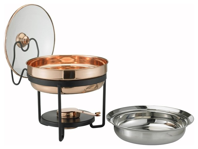 Decor Copper Chafing Dish With Glass Lid.