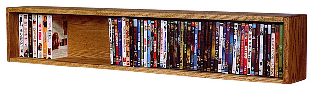Solid Oak Wall Or Shelf Mount Dvd/Vhs Tape/Book Cabinet