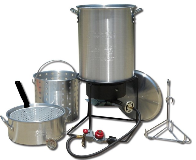 Portable Propane Outdoor Deep Frying/boiling Package With 2 Aluminum Pots.
