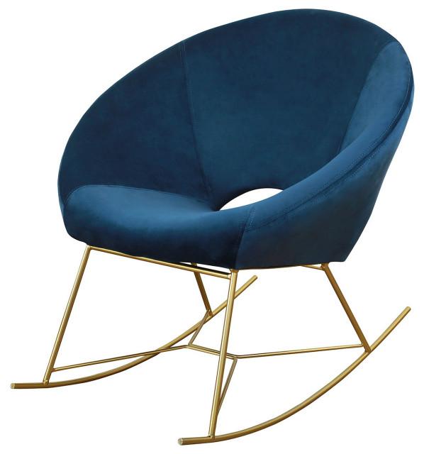 Blue Rocking Chair, Blue Velvet Rocker, Nursery Rocking Chair, Baby Rocker