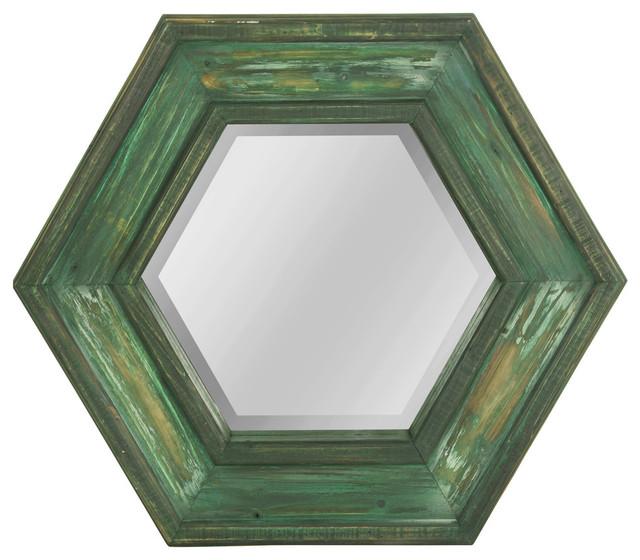 Hexagon Wooden Framed Mirror, Weathered Sage Finish.