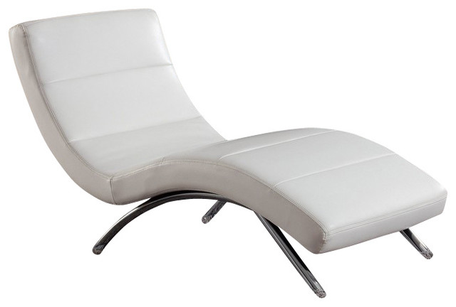 R820 White Bonded Leather Lounge Chaise Chair