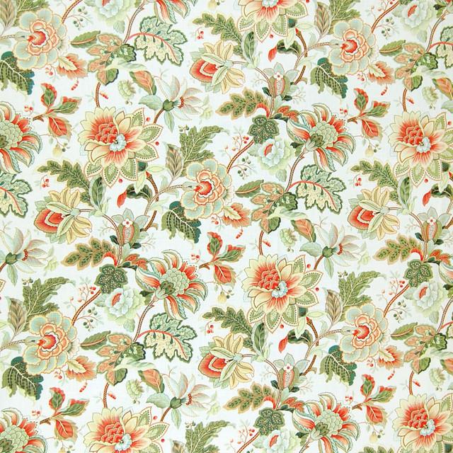 KOVI Fabrics Opal Green Orange Gold Floral Linen Print Upholstery Fabric Up