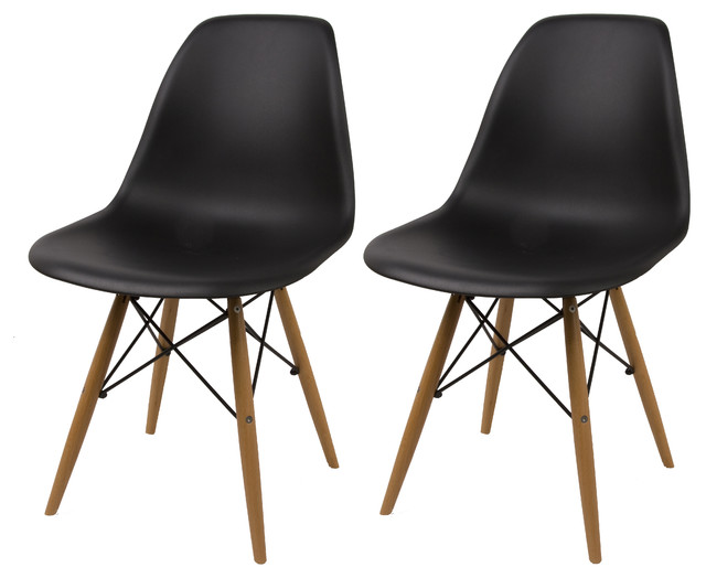 Modern dining chairs natural wood legs set of 2 - Natural wood dining chairs ...