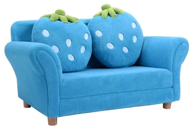 Enjoyable Modern Kids Strawberry Armrest Chair Sofa Blue Creativecarmelina Interior Chair Design Creativecarmelinacom