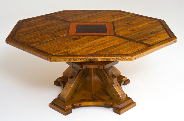 Round or Octagon Reclaimed Wood Dining Table - Rustic - Dining ...