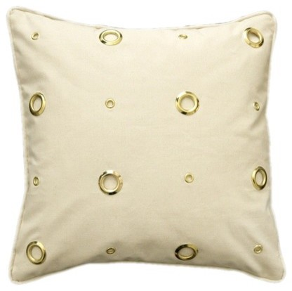 Textured Grommeted Ivory Cotton Gold Grommets Pillow modern-decorative-pillows
