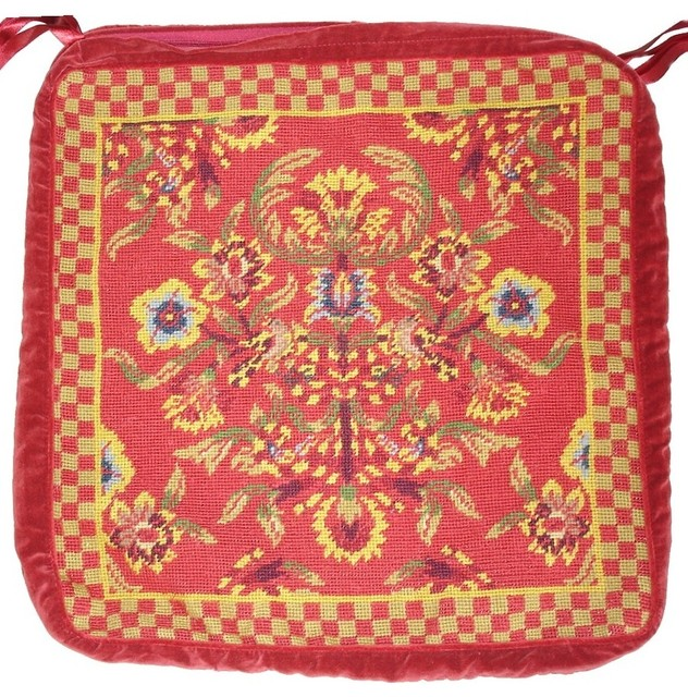 """Floral And Checkerboard Chair Pad, 18""""x18""""."""