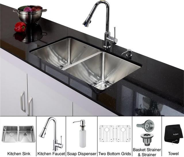 Kraus 33 Inch Under Mount Sink, Dispenser
