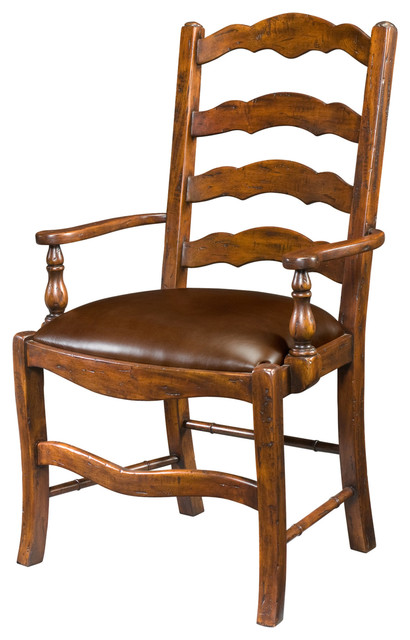 Country Antiqued Wood Dining Armchair