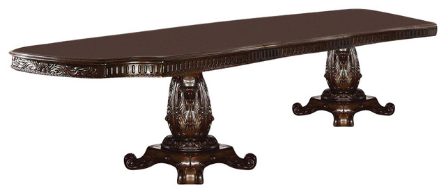 Acme Vendome Double Pedestal Dining Table With Two Leaves, Cherry  Traditional Dining Tables
