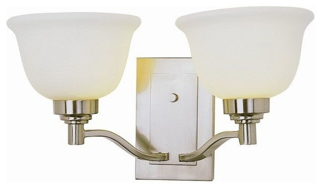 Transitional Bathroom Wall Sconces : Brushed Nickel 2-Light Wall Sconce/Bath Fixture - Transitional - Bathroom Vanity Lighting - by ...