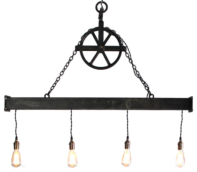 handcrafted 4 light steel beam chandelier with hanging pulley industrial chandeliers by