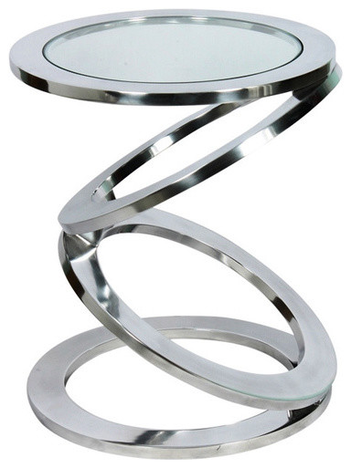 Disc Side Table With Glass Top, Silver Contemporary Sidobord& avlastningsbord av Horizon