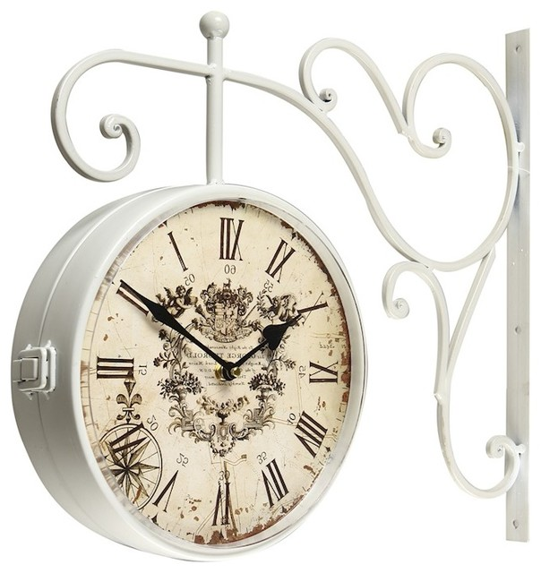 adeco white iron vintage doublesided wall clock with scroll wall mount