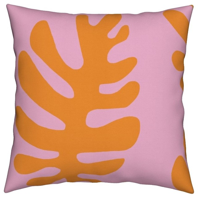 Tropical Leaves Pink Orange Nature Abstract Throw Pillow Cover Linen Cotton