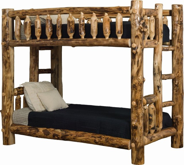 Rustic Aspen Log Mission Style Bunk Bed, Twin Over Twin.