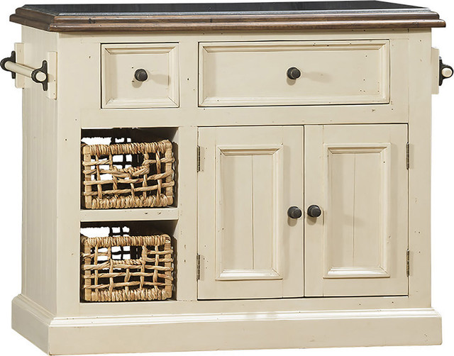 Tuscan Retreat Small Granite Top Kitchen Island With 2 Baskets, 5465