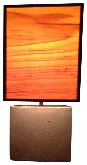 Concrete Table Lamp With Wood Veneer Lampshade