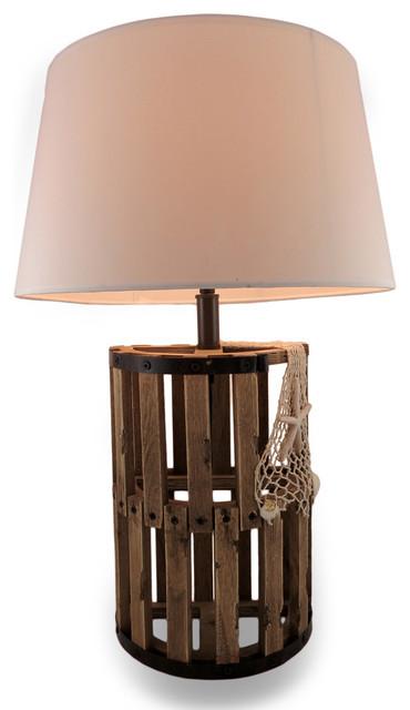 Shop houzz zeckos wooden lobster trap decorative table lamp table lamps - Trap decor ...