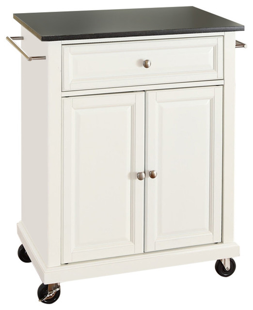 FastFurnishings White Kitchen Cart With Granite Top and
