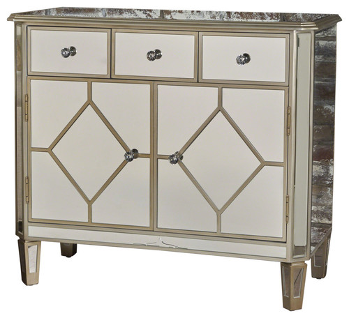 GDF Studio Tobin Silver Finished Mirrored 5-Drawer Cabinet With Faux Wood Frame